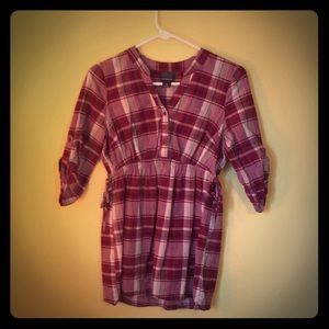 Red plaid maternity shirt